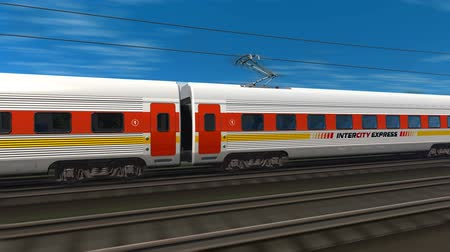 ekspres : Tracking shot of modern high speed train. Design is MY OWN and all text labels and numbers are fully abstract Stok Video