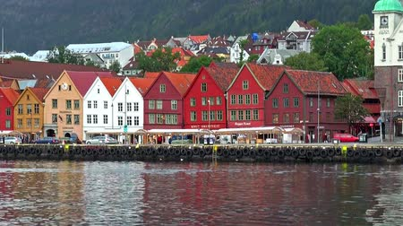 norvégia : Cityscape of Bryggen in Bergen, Norway Stock mozgókép