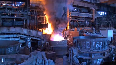 open hearth : Metallurgical manufacturing Stock Footage