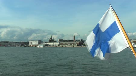 northern nature : Marine panorama of Helsinki with Finnish flag