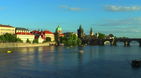 prague bridge : Vltava river in Prague Stock Footage