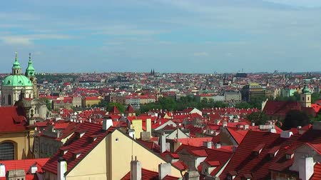 historical building : Zoom panorama of Prague Stock Footage