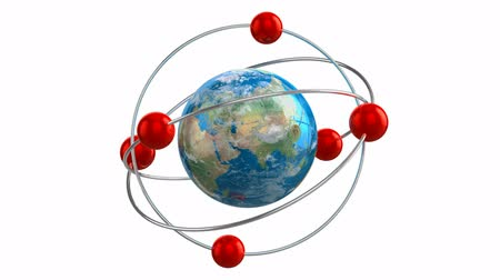 atomový : Creative abstract global communication technology and internet telecommunication services business concept: rotating chemical atom model from Earth globe planet with world map isolated on white background with alpha channel mask Dostupné videozáznamy