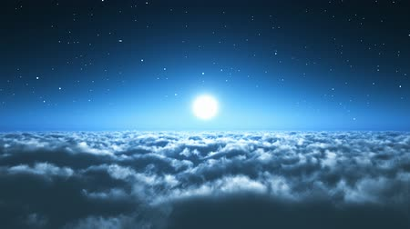 céu : Scenic view of night flight above the clouds with full moon and dark blue sky with stars at the midnight