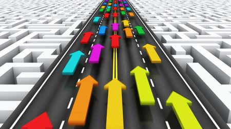 problem : Creative abstract success, teamwork and business competition challenge corporate concept: group of color arrows moving by highway over endless labyrinth Stock Footage