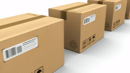 shipping : Shipping, logistics and retail goods delivery commercial business concept: row of corrugated cardboard box packages isolated on white background with alpha mask Stock Footage