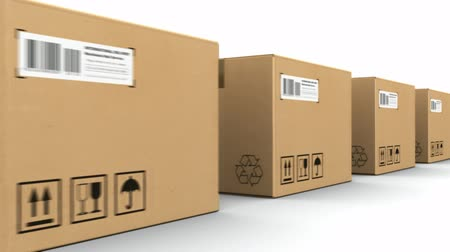 tektura : Shipping, logistics and retail goods delivery commercial business concept: row of moving corrugated cardboard box packages isolated on white background with alpha mask Wideo