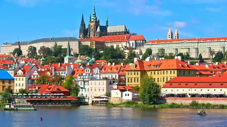 prague bridge : Scenic summer panorama of the Old Town architecture with Vltava river and St.Vitus Cathedral in Prague, Czech Republic