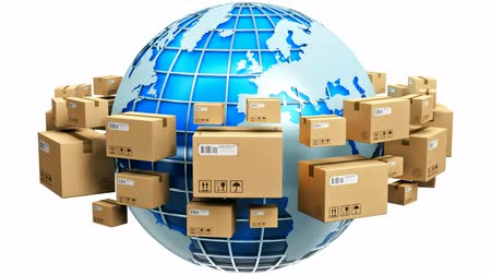 importação : Creative abstract global logistics shipping and worldwide delivery business concept: blue Earth planet globe surrounded by heap of stacked corrugated cardboard boxes with parcel goods isolated on white background