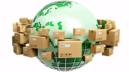распределение : Creative abstract global logistics shipping worldwide delivery business and ecology concept: green Earth planet globe surrounded by heap of stacked corrugated cardboard boxes with parcel goods isolated on white background Стоковые видеозаписи