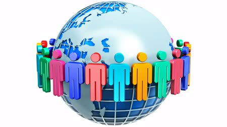 partnerstwo : Creative abstract global communication social media network and business partnership success and teamwork internet web concept: group of 3D color people figures joined in circle around blue Earth planet globe isolated on white background