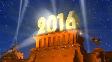 talapzat : Creative abstract New Year 2016 celebration concept: shiny golden 2016 text on pedestal at night with fireworks in cinema style
