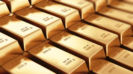 başarılı : Creative banking, financial success development, growth and profit investment concept: 3D rendered 4K video of the macro view of stacks and rows of gold ingots or golden bullions bars with selective focus effect