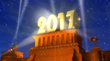 Creative abstract New Year 2017 celebration concept: 3D rendered video of shiny golden 2017 text on pedestal at night with fireworks in cinema style