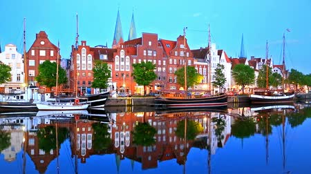 lubeck : Scenic summer evening view of the Old Town pier architecture in Lubeck, Germany Stock Footage