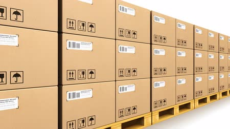 posta kutusu : Shipment, logistics, delivery and product distribution business industrial concept: storage warehouse with row of stacked cardboard boxes with packed goods on wooden shipping pallets isolated on white background Stok Video