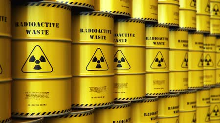 magazyn : Creative abstract nuclear power fuel manufacturing, disposal and utilization industry concept: 3D render illustration of the group of stacked yellow metal barrels, drums or containers with poison dangerous hazardous radioactive materials in the industrial Wideo