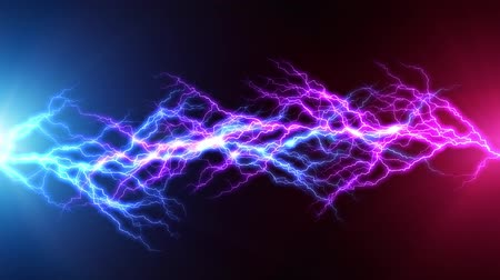 electric strike : Creative abstract 3D render illustration of the blue and red lightning arc hit strike electric discharge light effect on dark black background