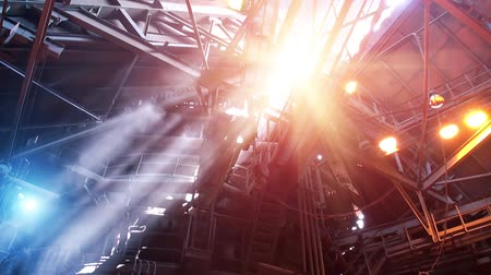 blast furnace : Smoke and sun light rays in blast furnace workshop of metallurgical plant