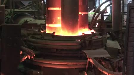 open hearth : Working electroarc furnace at the metallurgical plant workshop Stock Footage