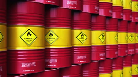 Creative abstract oil and gas industry manufacturing and trading business concept: 3D render illustration of the group of the industrial storage warehouse with a stacked rows of red metal oil drums or petroleum barrels with selective focus effect Wideo