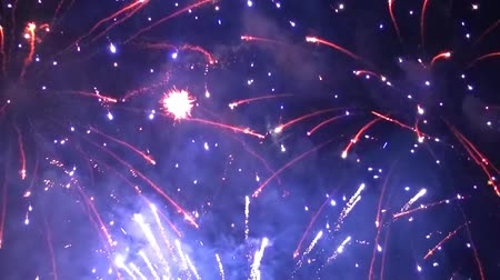 Scenic view of colorful pyrotechnic firework explosions in the night sky Wideo