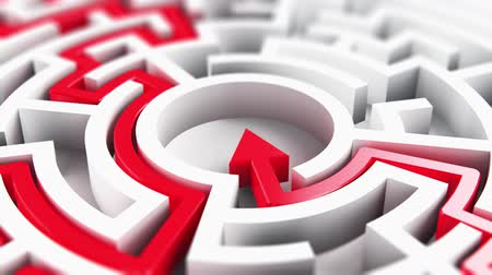 labirent : Creative abstract success, perspective vision, marketing, strategy, finding solution and motivation business communication concept: 3D render illustration of the solved round circle labyrinth maze with red arrow path on white background Stok Video