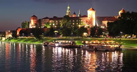 wawel : Scenic summer night view of the Wawel Castle, Cathedral Church and Vistula river embankment in the Old Town of Krakow, Poland
