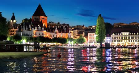 suisse : Scenic summer night view of the Old Town of Lausanne, Switzerland Stock Footage