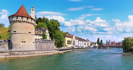 wooden bridge : Scenic summer panorama of the Old Town medieval architecture in Lucerne, Switzerland