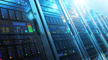dane : Modern web network and internet telecommunication technology, big data storage and cloud computing computer service business concept: 3D render video of the macro view of server room interior in datacenter with selective focus effect Wideo
