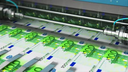 one hundred : Business success, finance, banking, accounting and making money concept: 3D render video of printing 100 Euro money paper cash banknotes on print machine in typography