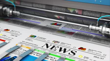 ofset : 3D render video of printing color daily business newspapers or news papers on the offset print machine in typography