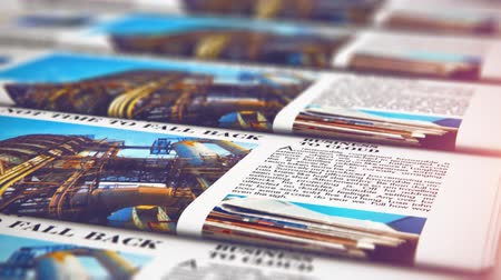 nakladatelství : 3D render video of the macro view of printing color daily business newspapers or news papers on the offset print machine in typography with selective focus bokeh blur effect