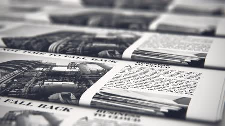 periódico : 3D render video of the macro view of printing black and white daily business newspapers or news papers on the offset print machine in typography with selective focus bokeh blur effect