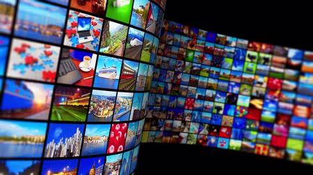 news tv : Creative abstract web streaming media TV video service technology, multimedia business internet communication and cinema content production concept: 3D render video of black background with endless walls of screens with color photos and colorful displays