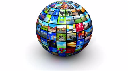 Creative abstract web streaming media TV video service technology, multimedia business internet communication and cinema content production concept: 3D render video of round sphere or globe with color pictures and colorful photos collage or montage isolat Wideo