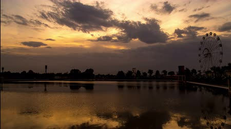 Timlaps Lake in Shymkent at sunset