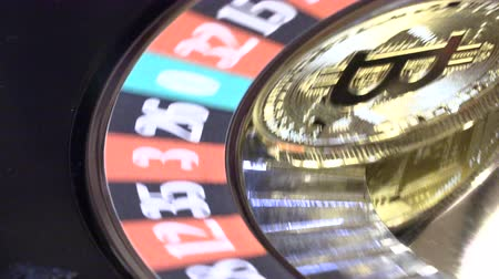 рулетка : Bitcoin in casino roulette bitcoin on the table in the casino