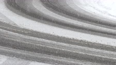 driving plate : The first snow at the turn of the road