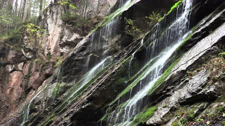 herfst : Bergwaterval in Beieren, langzame moution, Duitsland Stockvideo
