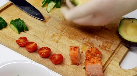 тыкать : Cook preparing snack,Traditional Fresh Hawaiian Raw Ahi Tuna Poke, new food trend from Hawaii!
