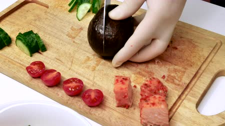 avocado : Cook preparing snack,Traditional Fresh Hawaiian Raw Ahi Tuna Poke, new food trend from Hawaii!