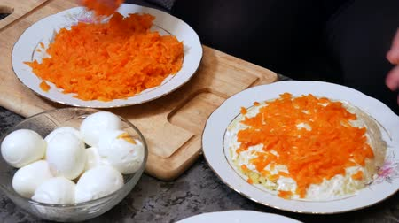 mayonez : Woman preparing carrot salad Stok Video