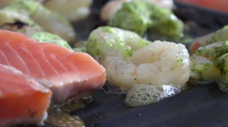 omega : Red Salmon Fish Fillet on Electric Grill, Seafood Stock Footage