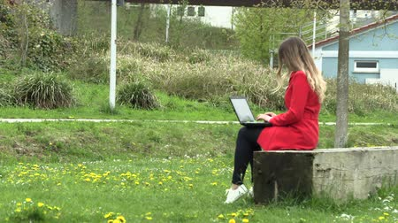 művek : The girl in the red dress works on the street with a laptop