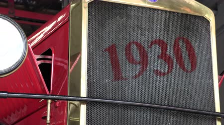 model s : 1930 red fire truck front view