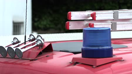 Roof of a fire truck with a blue flashing light Wideo