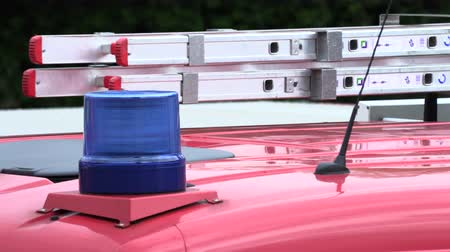sirene : Roof of a fire truck with a blue flashing light Stockvideo