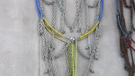lastik : Snow chains for fire engine, hang on the wall